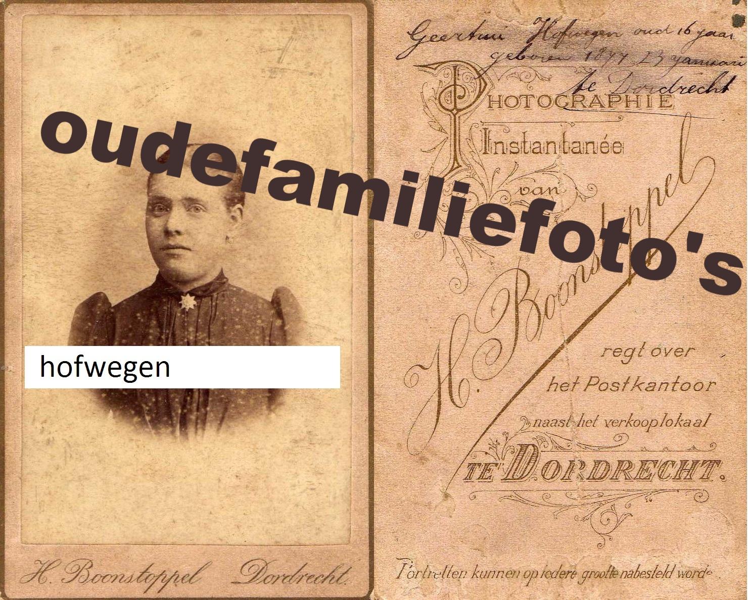 Hofwegen, Geertrui. geb: 23-1-1877 getrouwd met Jacobus Johannes Bosman. Dordrecht. € 3,00