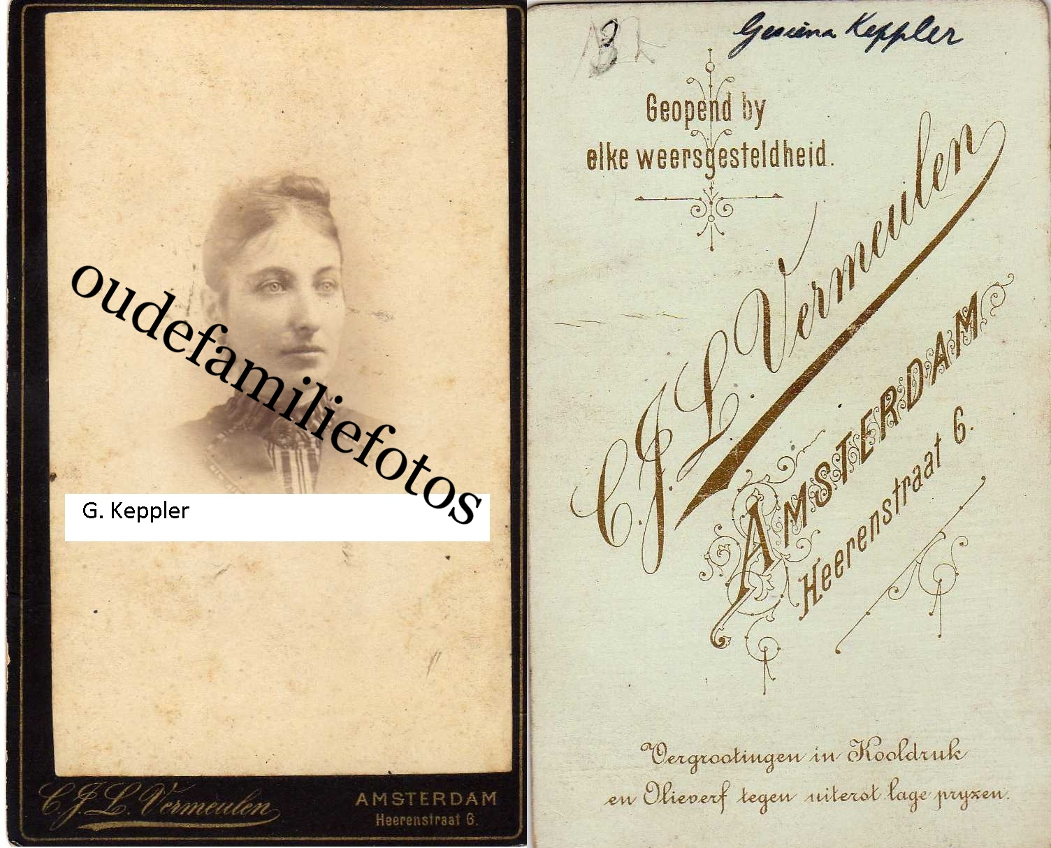 Keppler, Gesina geb. 23-3-1866 A'dam ovl. 12-11-1895 Den-Haag. Moeder M.C Lugt € 2,00