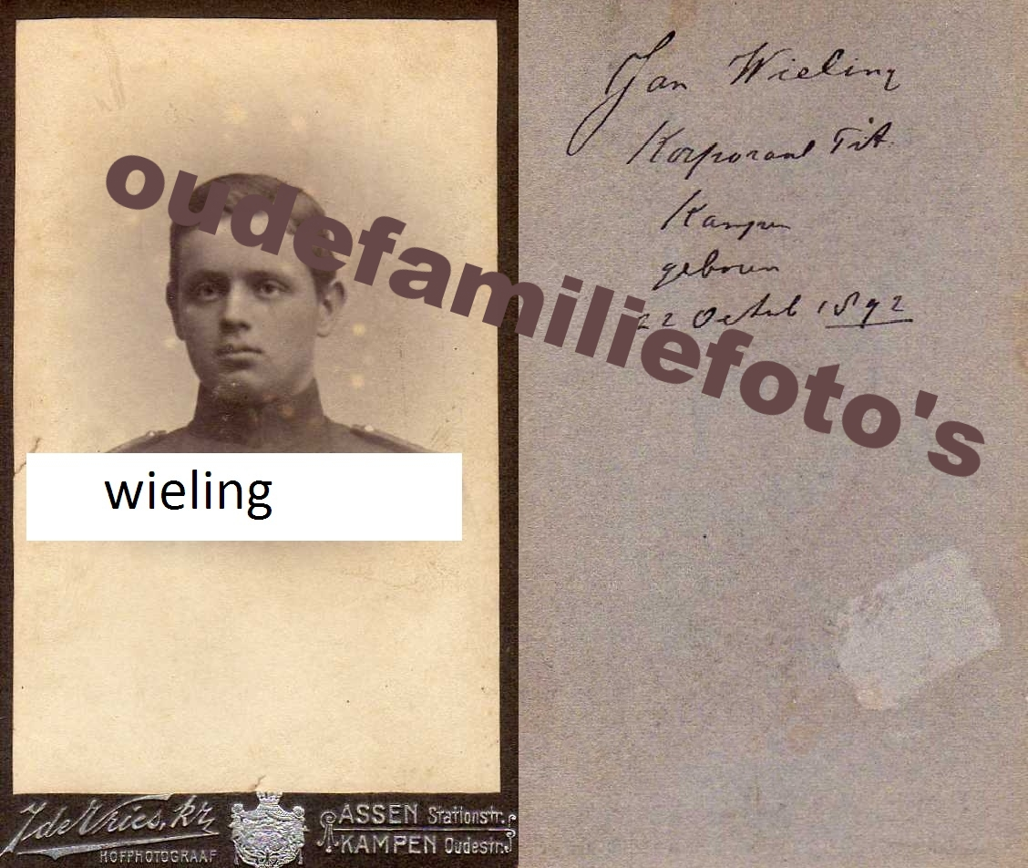 Wieling, Jan. geb: Geboren op 22-10-1892 Assen. ouders Kornelis en Hendrika Gezina Ebels. € 3,00