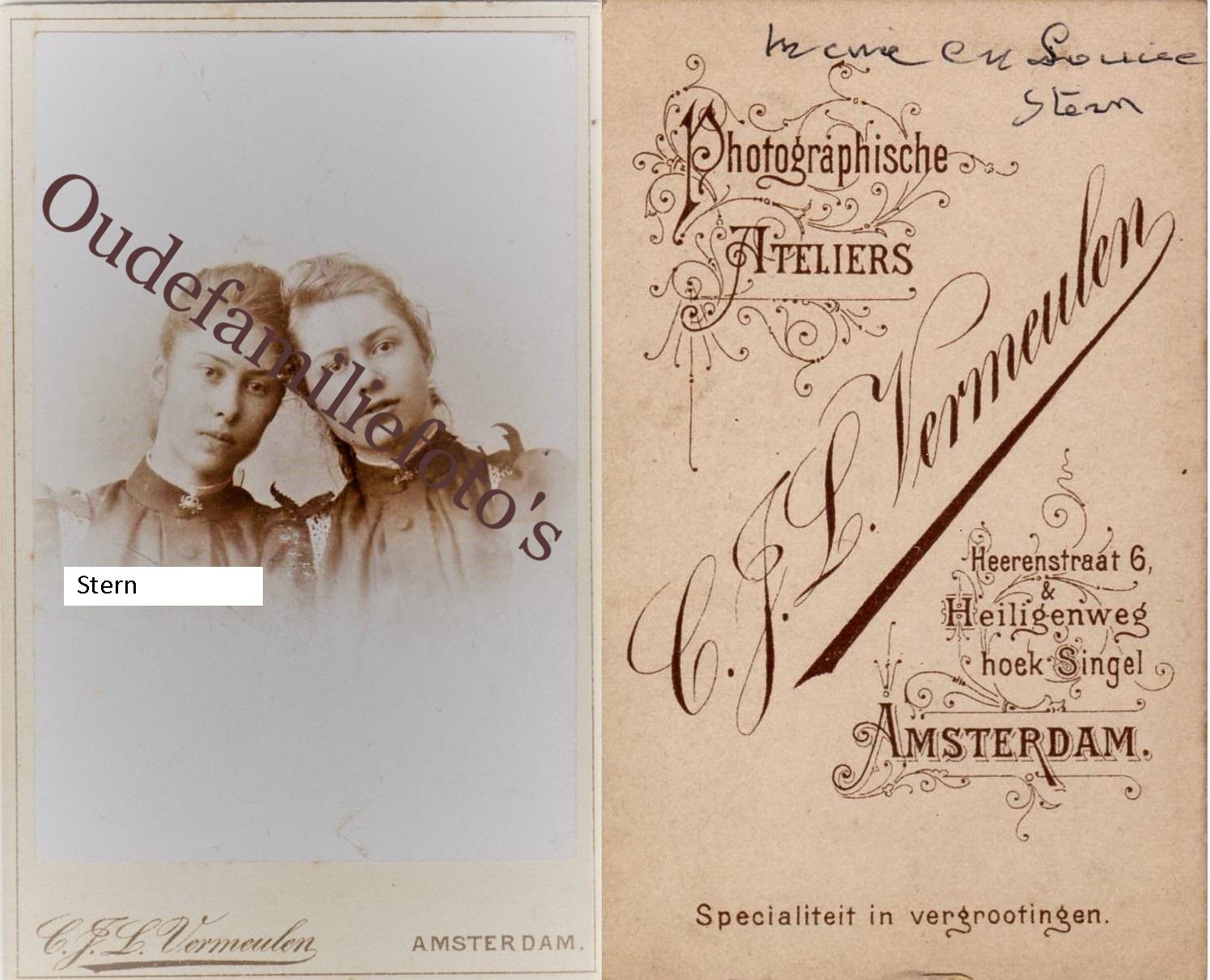 Stern, Louisa Cornelia Johanna. Geb. 3-8-1880 Sluis. Zus: Maria Francina Geb. 22-5-1878 Heille. Moeder Hennequin. € 3,00