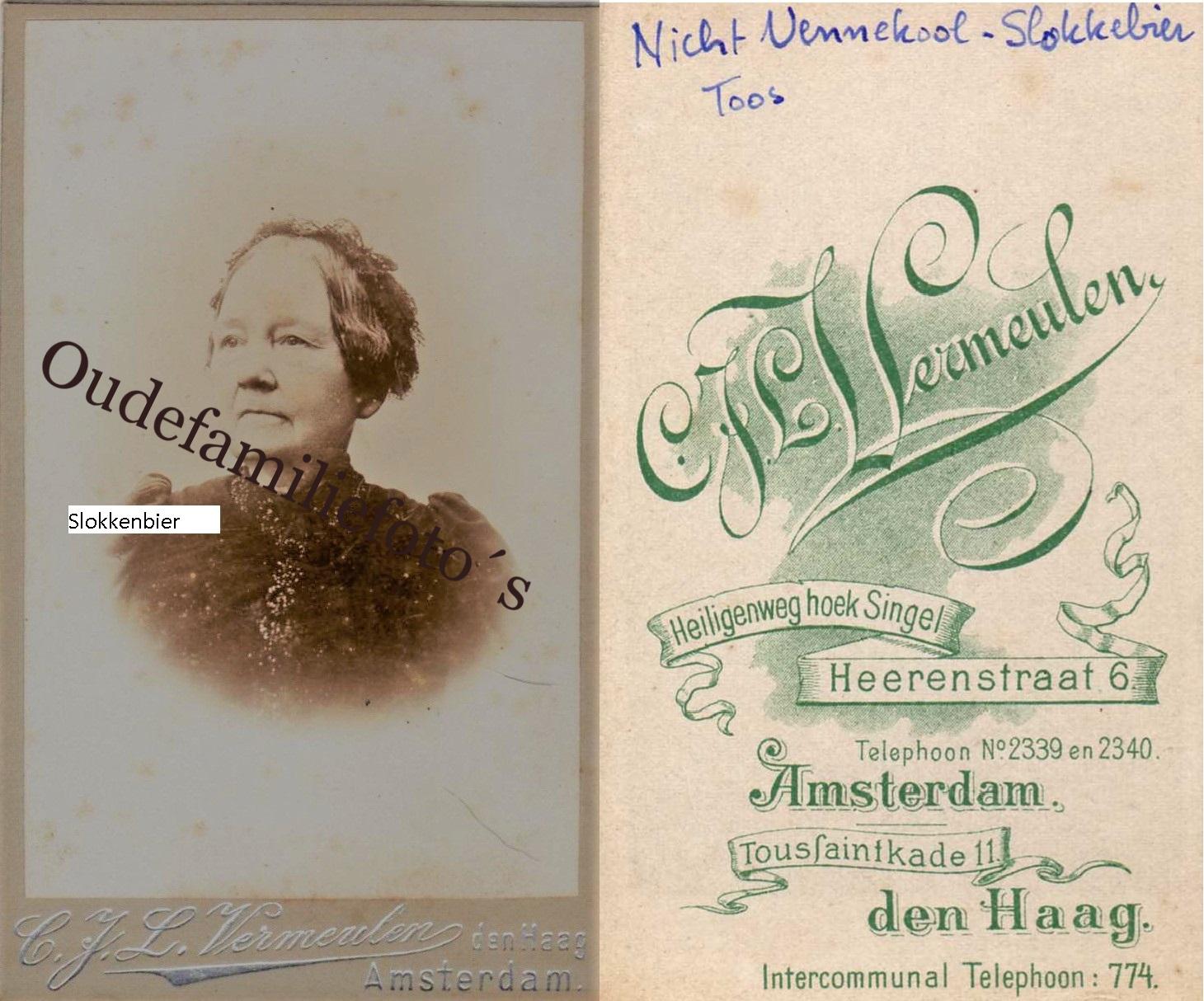 Slokkenbier, Johanna Catharina Anhonia ( Toos) Geb. 21-5-1824 Amsterdam. Ovl: 10-10-1913 Getrouwd 12-5-1870 met Adam Vennekool € 3,00