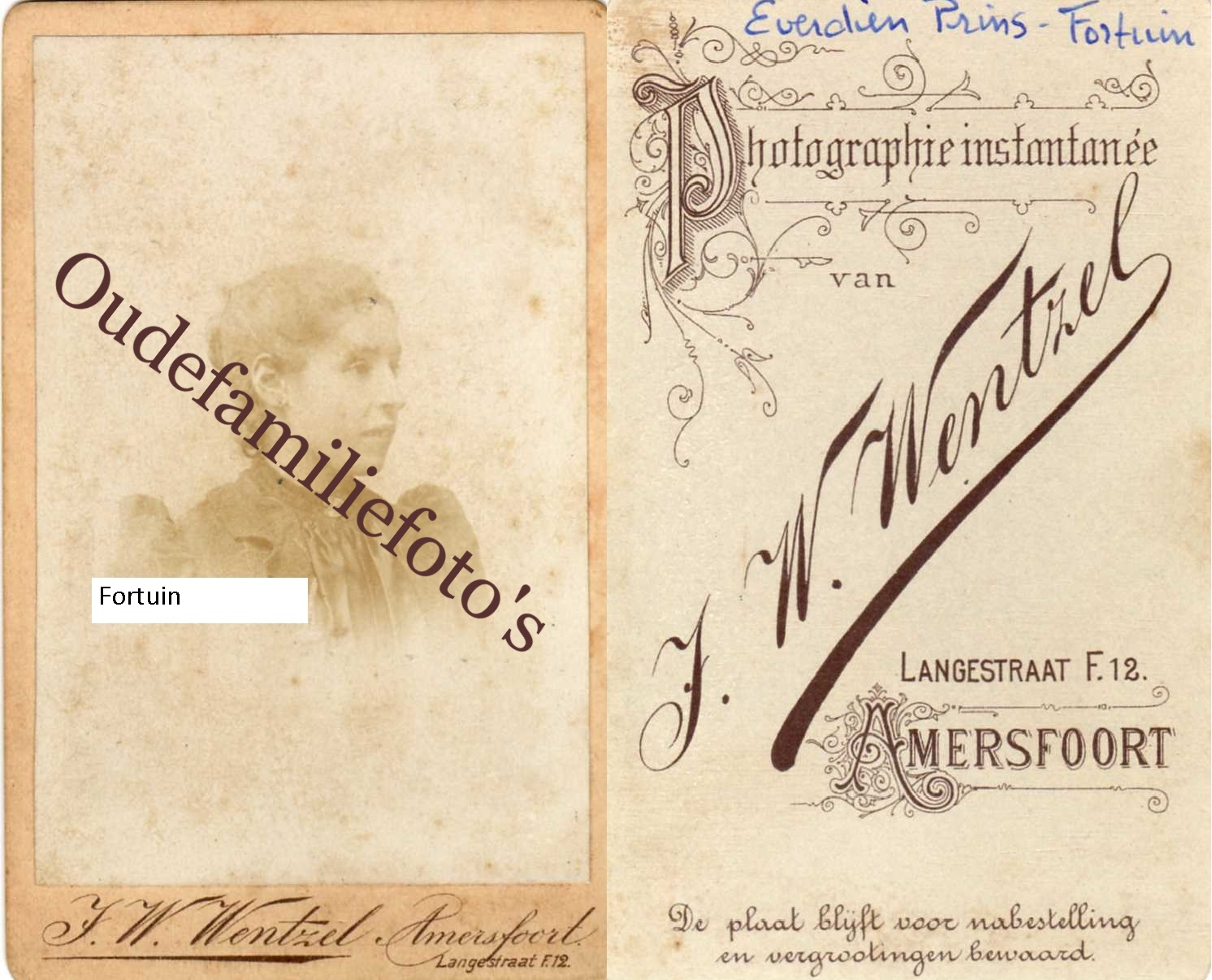 Fortuin, Everdina Eliza. Geb. 12-11-1873 Amersfoort. Getrouwd met C.J.F. Prins € 2,00