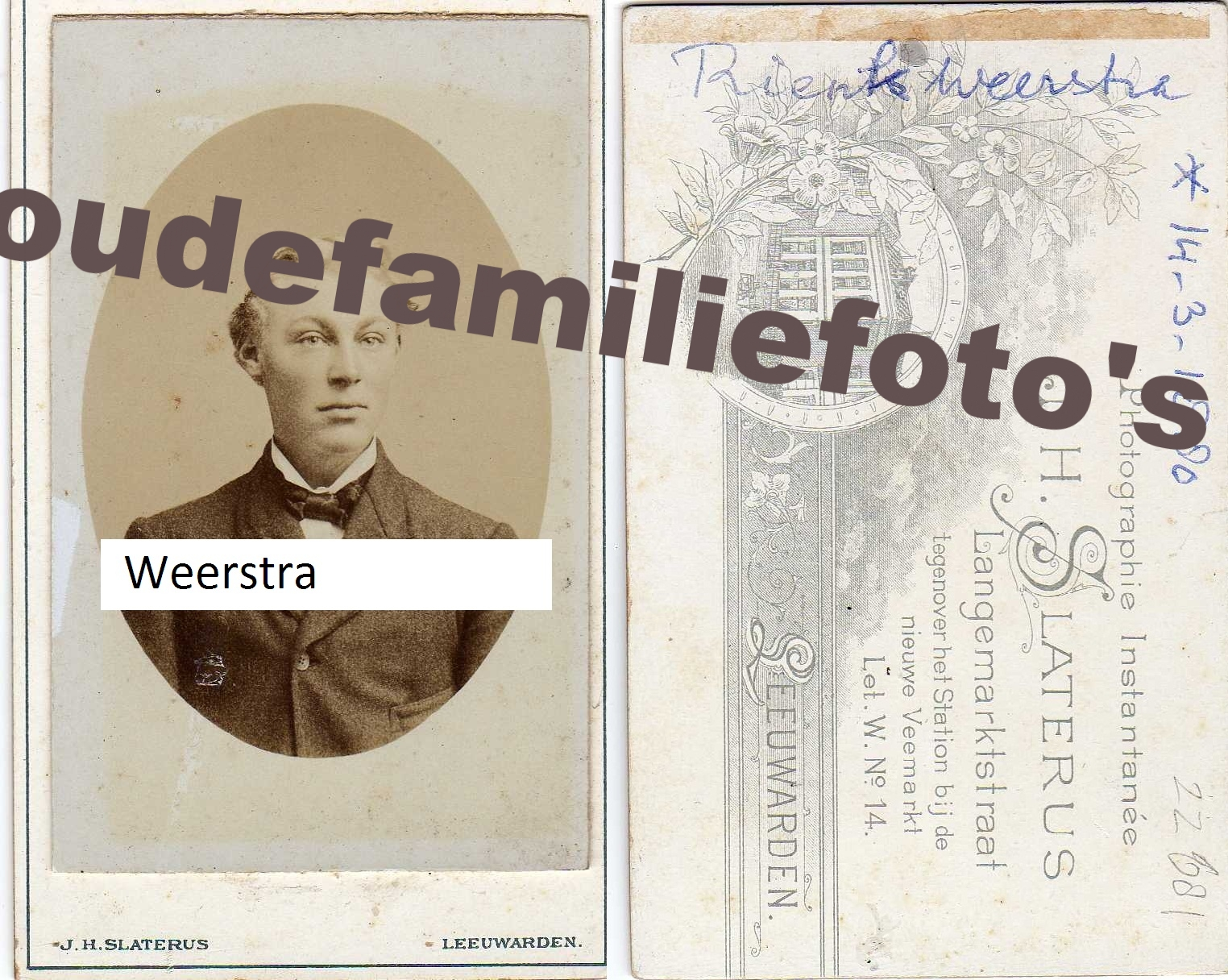 Weerstra, Rienk Geb: 14-03-1880 Wonseradeel. getrouwd met Jeltje Wiarda. ovl. 4-9-1958 € 4.00