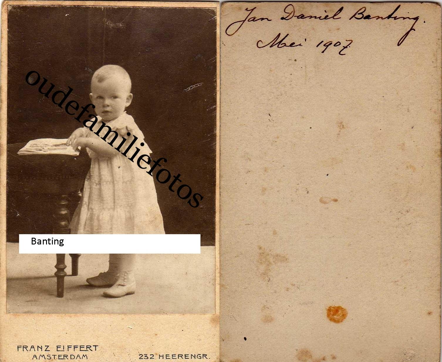 Banting, Jan Daniél geb. 15-10-1905 A'dam Moeder Posthumus. € 2,00