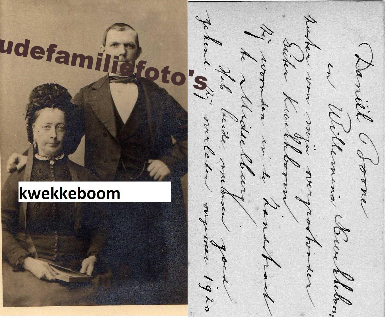 Kwekkeboom, Wlhelmina geb: 12-7-1839 Westkapelle ovl: 7-11-1914 gehuwd met Daniël Boone € 3,00