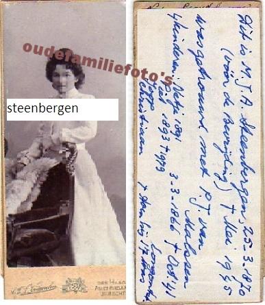 Steenbergen, Maria Jacoba Antoinetta. Geb. 28-3-1870, Ovl mei 1945  Getr. met Petrus Johannes van Malssen € 2.50