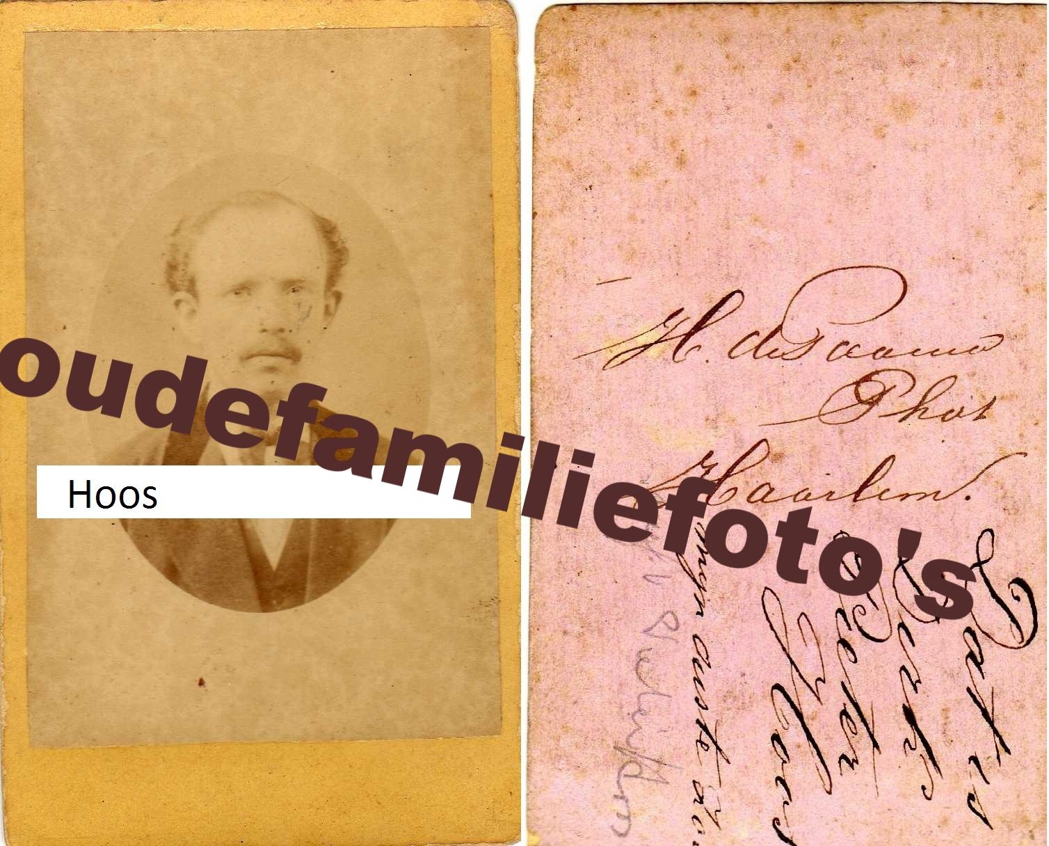 Hoos, Dirk Pieter. Geboren: 10-2-1841 Den-Haag getrouwd met Johanna Gerarda Jonkmans. zoon van Gerrit Hoos € Prijs in overleg