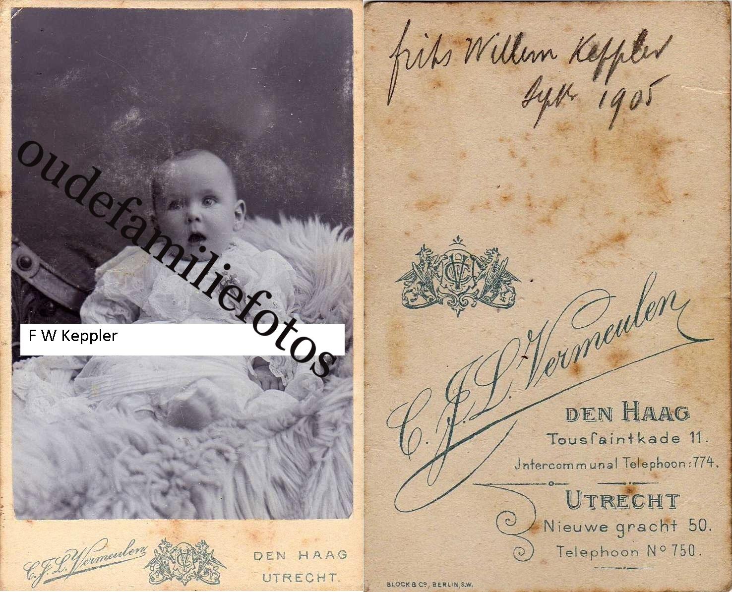 Keppler, Frits Willem. geb. 12-3-1905 A'dam gtrouwd met J.H van Buuren. € 2,00