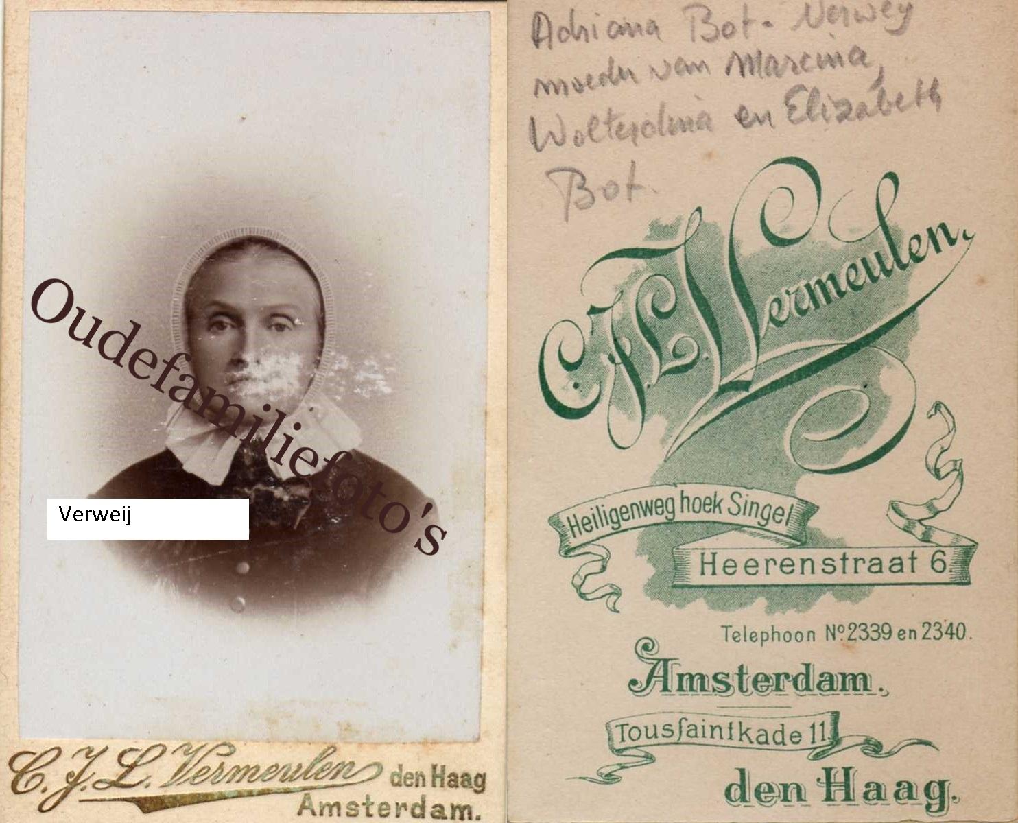 Verweij, Adriana. Geb. 30-6-1818 Geldermalsen. Getrouwd met Wolter Bot. € 1,00