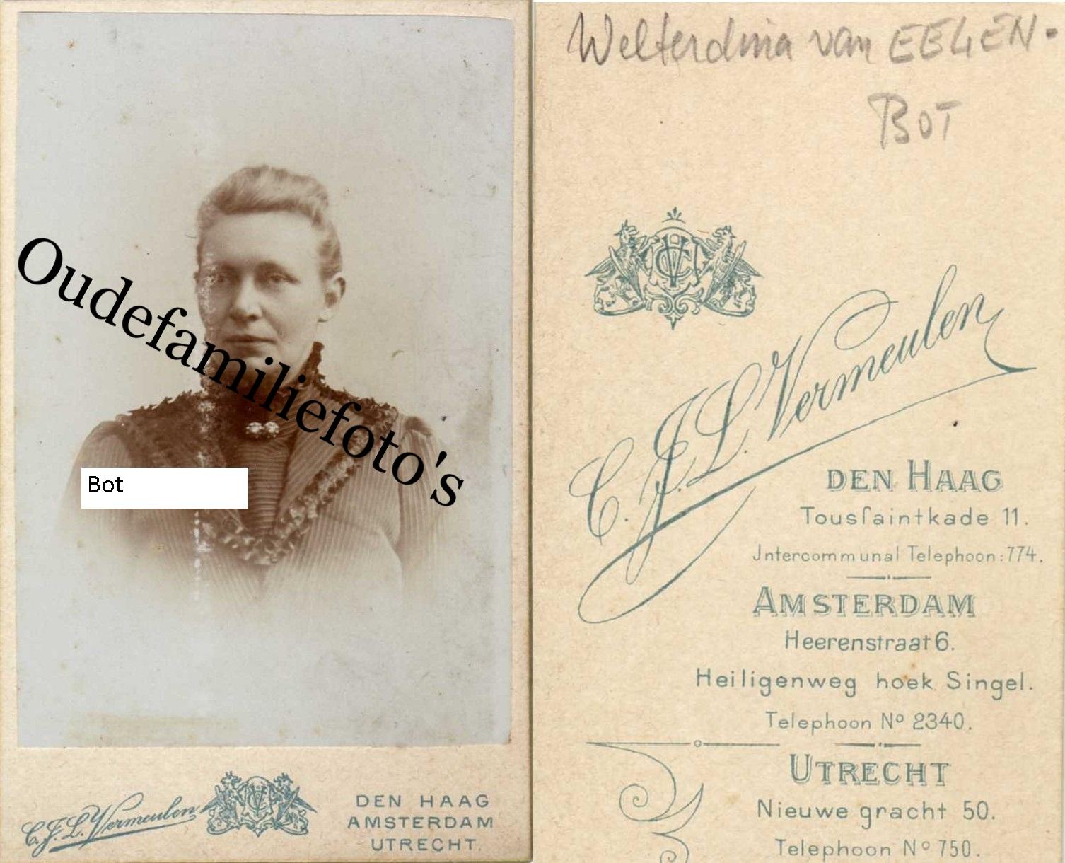Bot, Wolterdina Hendrika. Geb. 5-2-1860 Meppel Ovl. 5-5-1930 Meppel. Getrouwd met Gerrit van Eelen. € 2,00