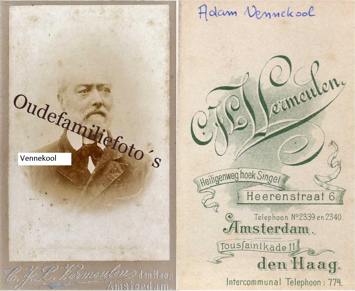 Vennekool, Adam Geb. 11-9-1821 Amsterdam Ovl. 28-3-1900 Broek in Waterland Getrouwd met J.C.A Slokkenbier. € 3,00