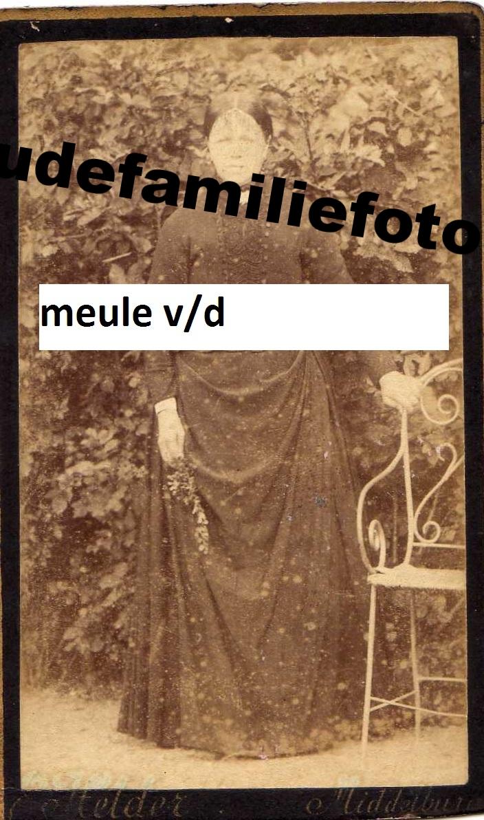Meule van der, Cornelia geb: 14-10-1827 Domburg. gehuwd 7-5-1875 met Jan Mosselman. € 3,50
