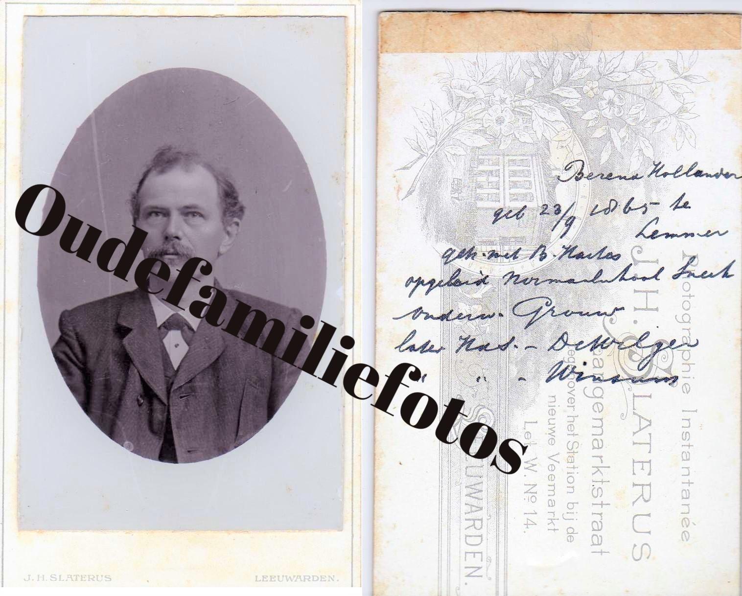 Hollander, Berend geb. 23-9-1865 Lemmer. gertouwd met Boukje Haites. € 3,00