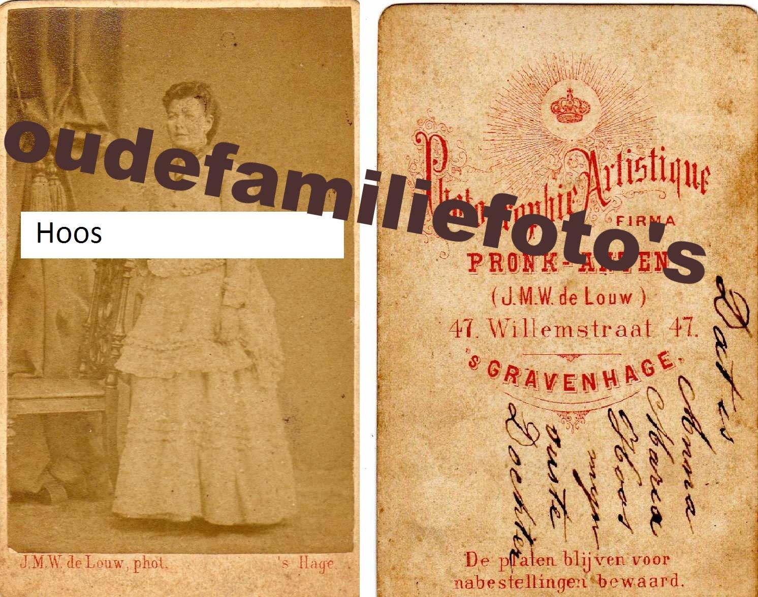 Hoos, (Joh)anna Maria, geboren 12-5-1843 Den-Haag dochter van Gerrit Hoos € prijs in overleg