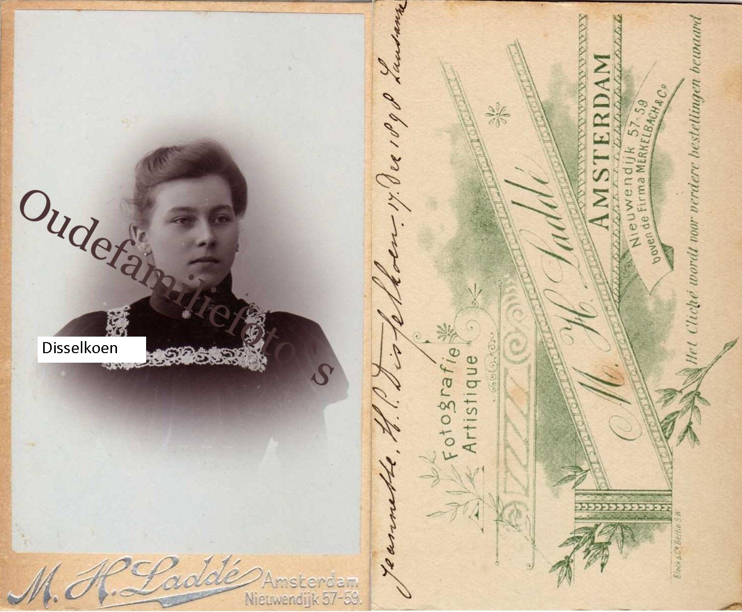 Disselkoen, Jeannette Henriette Clasina. Geb. 26-9-1881 Amsterdam Getrouwd met Dr. J F Beerens € 3,00