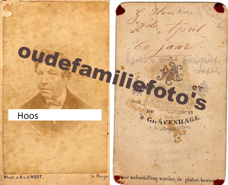 Gerrit Hoos, geboren: 2-4-1812 Den-Haag getrouwd met Johanna van der Spek € 3,00
