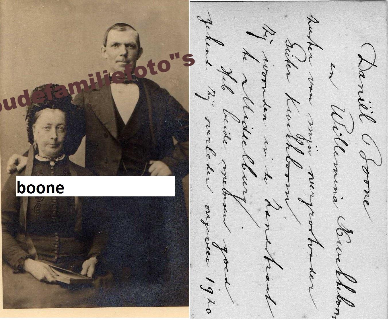 Boone, Daniël geb: 1-1-1841 middelburg ovl. 5-7-1916 gehuwd 22-11-1865 Wilhelmina Kwekkeboom € 3,00
