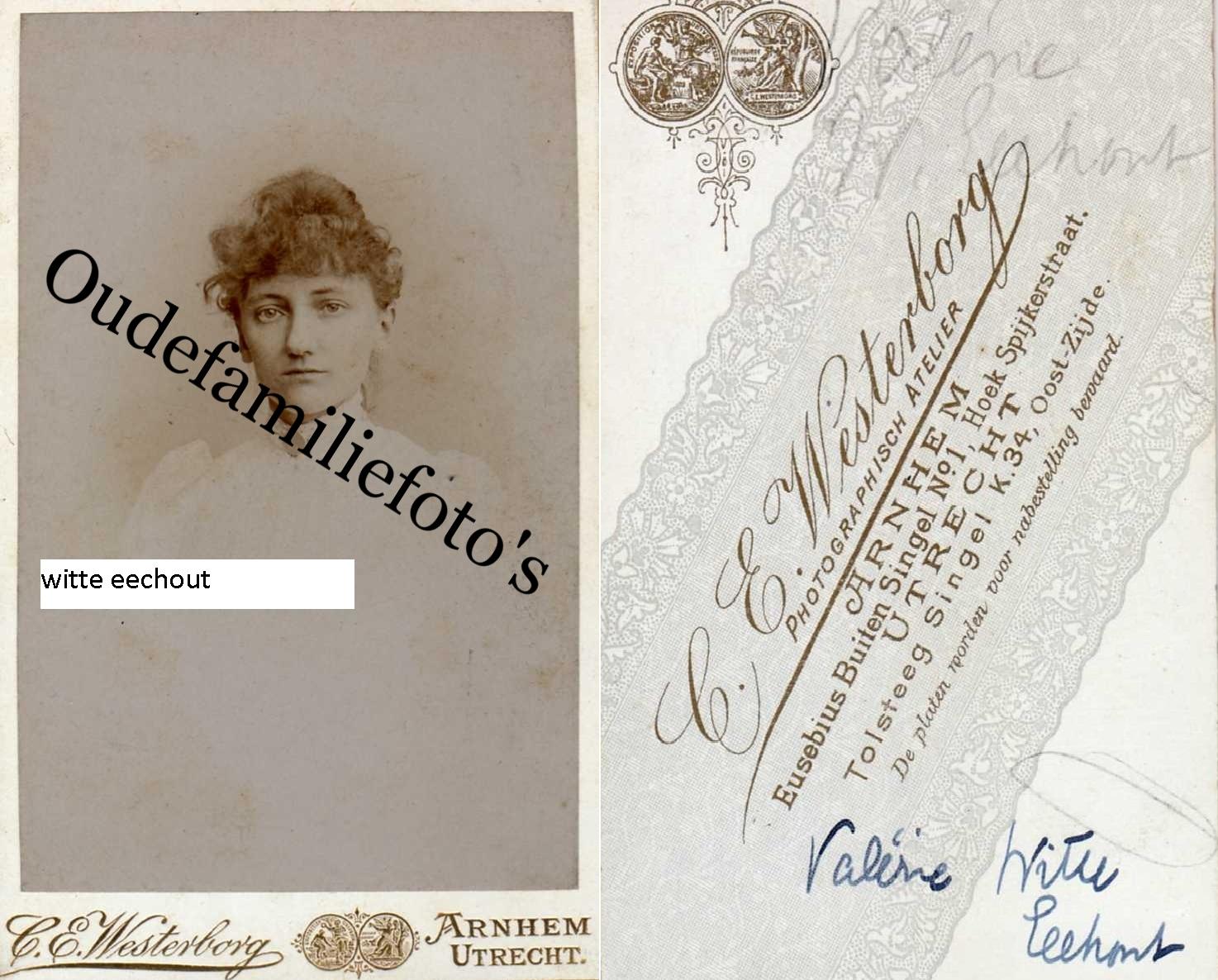 Eechout (Witte) Valeria Josina Geb. 24-2-1864 Breda Ovl. 8-2-1949 Maarssen. € 3,00