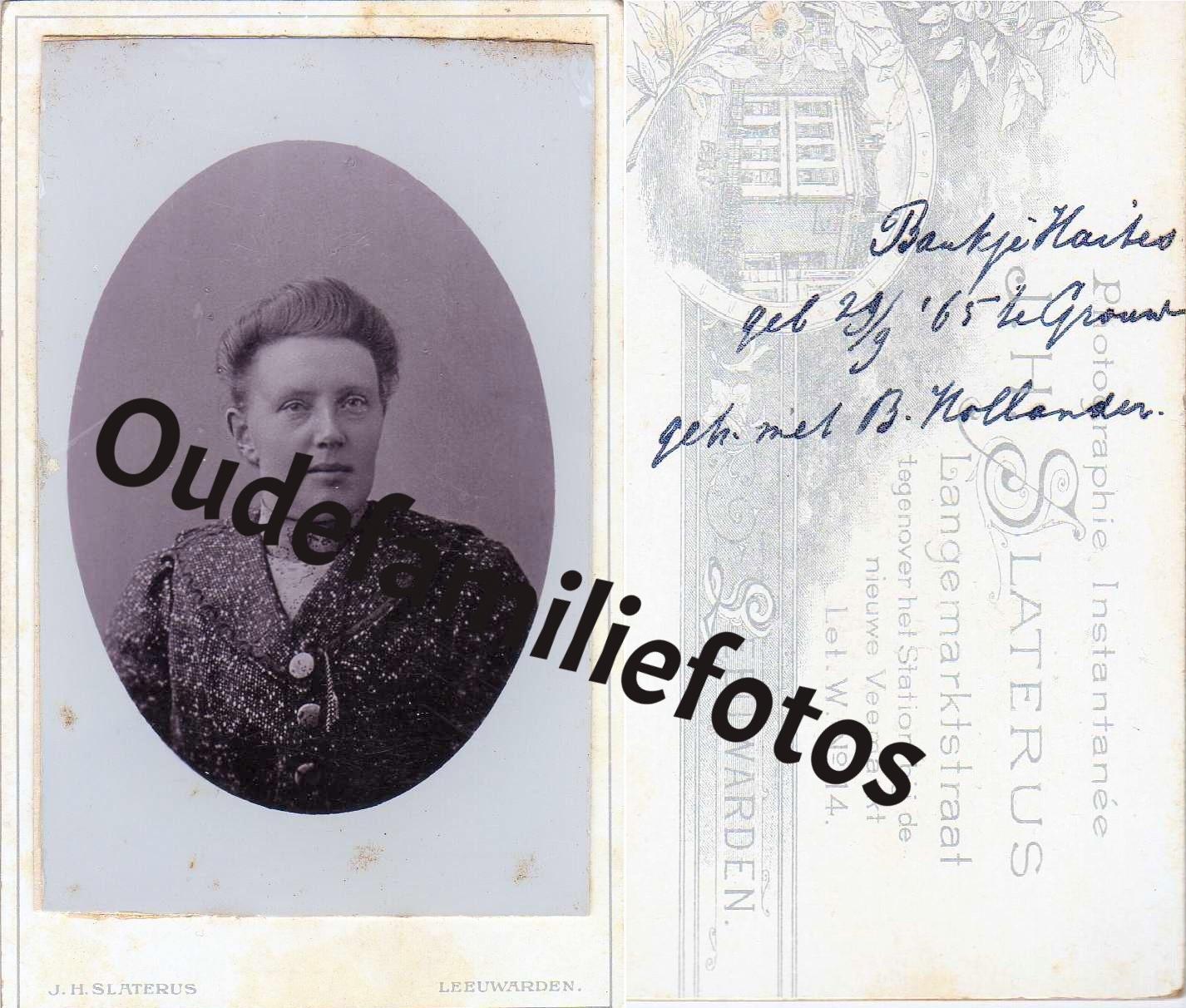 Haites, Boukje. geb. 29-9-1865 Grouw. getrouwd met Berend Hollander. € 3,00
