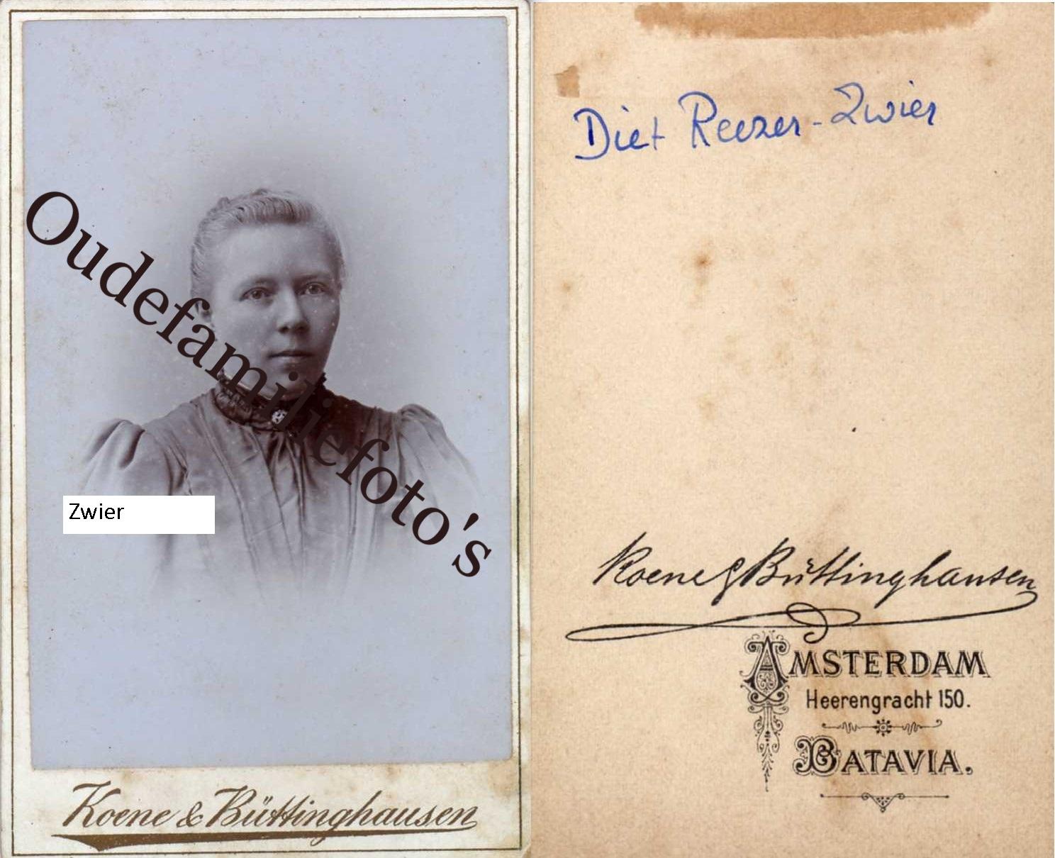 Zwier, Diderika Hermina. Geb. 19-12-1852 Amersfoort. Ovl. 6-1-1905 Amersfoort. Getrouwd met Leendert Reeser. € 3,00