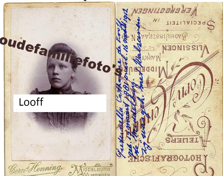 Fooff de, Pieternella Catharina. geb. 17-3-1881 Wissenkerke. getrouwd met Frans Walraven. € 4,00
