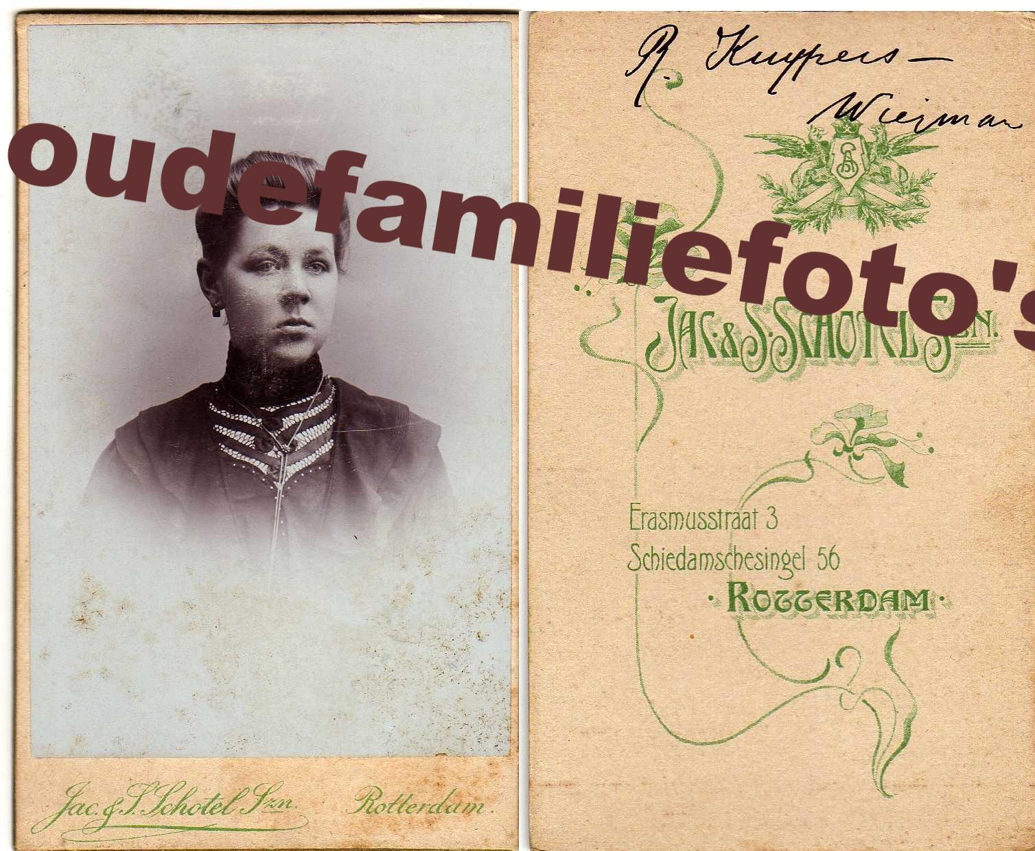 Wiegman, Roelofje. geb: 01-12-1881 's-Hertogenbosch. gehuwd 11-8-1908 met Berthus Kuypers. € 3,00
