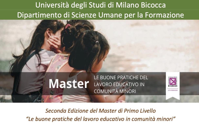 """II edizione del Master """"Le buone pratiche del lavoro educativo in comunità minori"""", Università di Milano-Bicocca"""