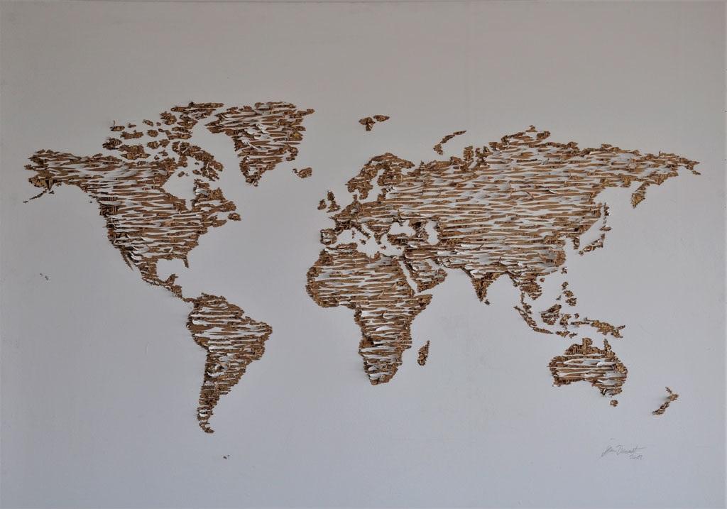 Mappemonde (gravure sur contreplaqué peint) - 160x120cm - 11 000€