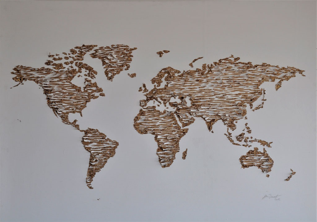 Mappemonde (gravure sur contreplaqué peint) - 160x120cm
