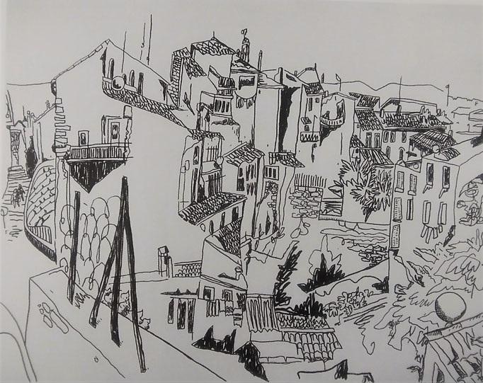 Rue Villaret - Joyeuse (feutre acrylique) - 60x50.5cm (Oeuvre en dépôt)