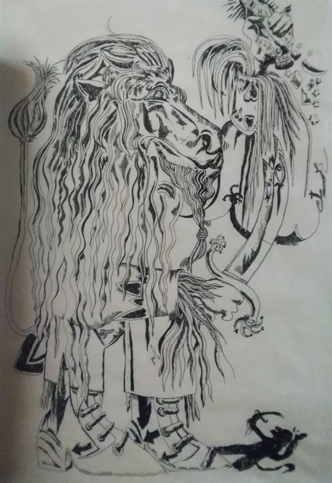 Le lion briseur d'idole 2014 (gouache sur papier kraft) - 135x97.5cm (Oeuvre en dépôt)