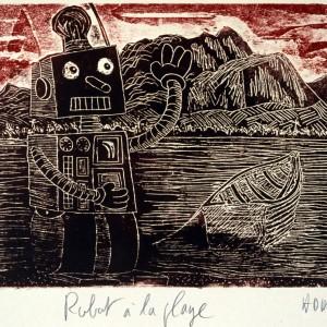 Robot à la plage - 1998 - 26x38cm