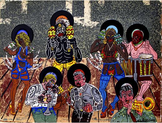 Groupe de salsa - 2004 - Sérigraphie au carborundum rehaussée par l'artiste