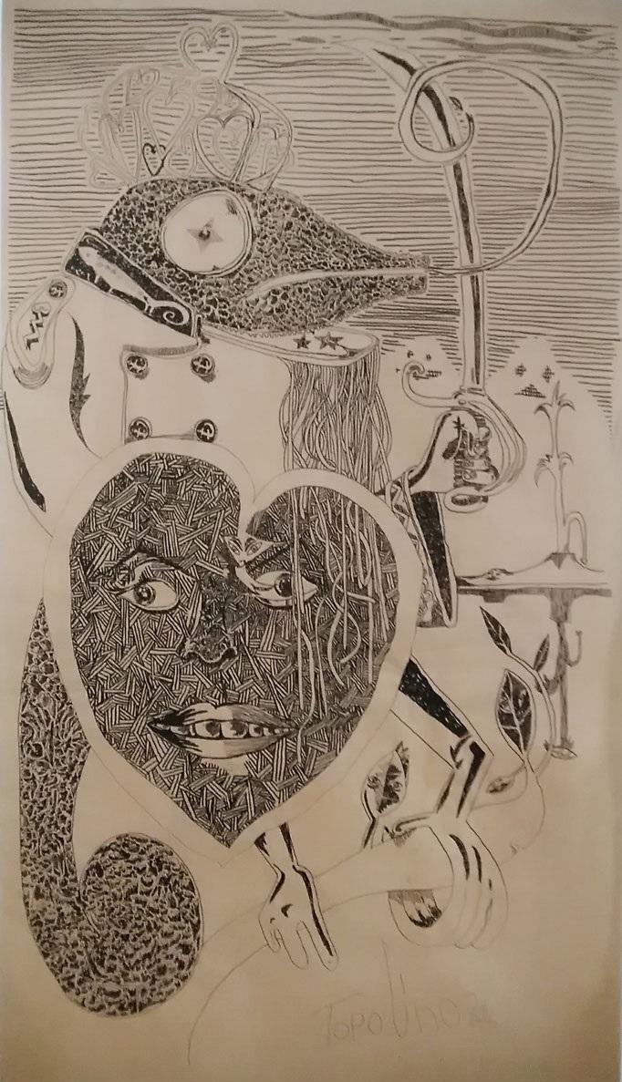 Le kamélélon avec bouclier d'amour (gouache sur papier kraft) - 180x97.5cm - 5 000€