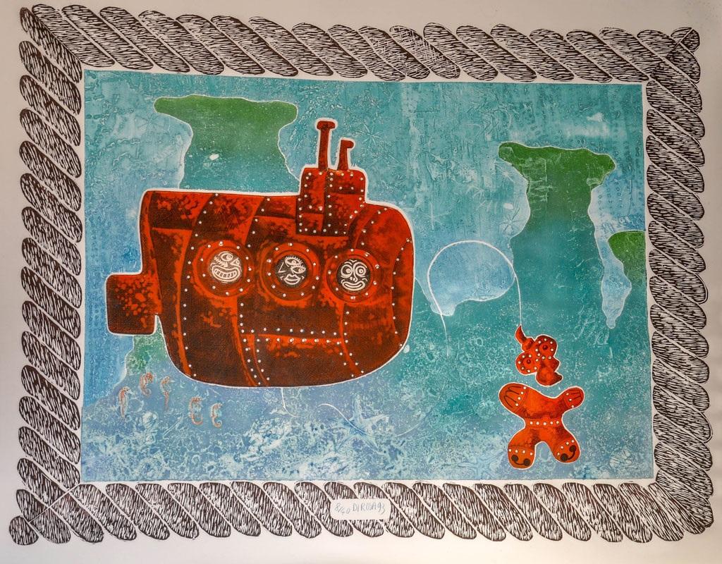 Le scaphandrier (gravure n°8/40) 106x140cm - 25x160cm planche brute (Oeuvre privée)