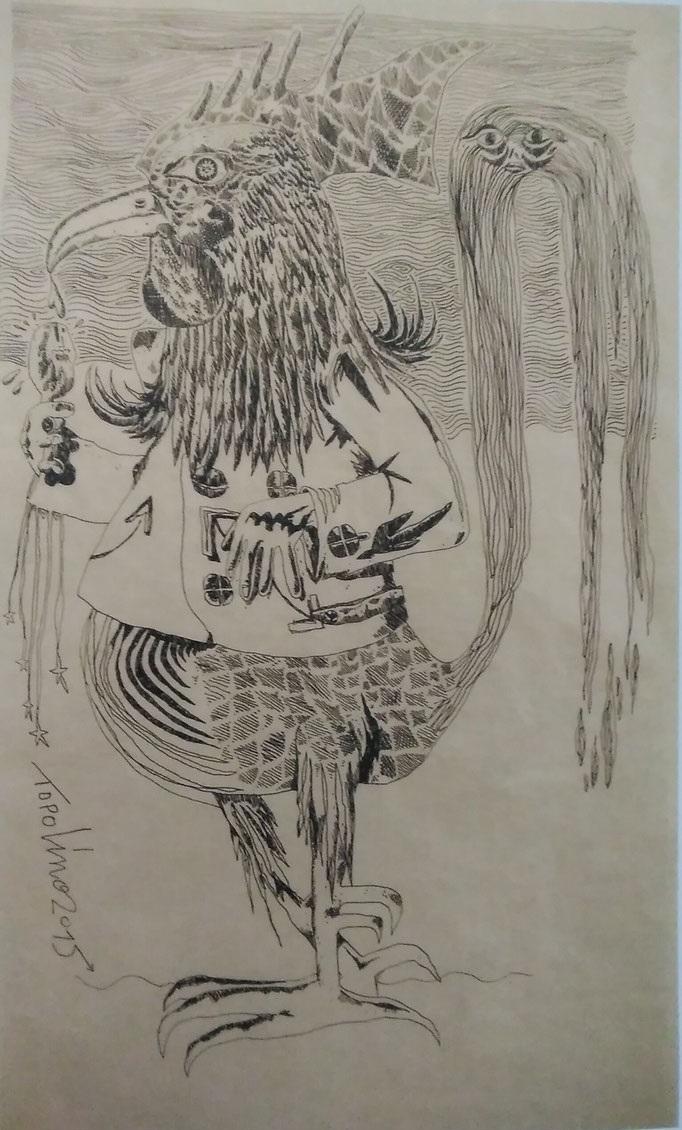 Le coq sadique anthropophage (gouache sur papier kraft) - 160x98cm - 5 000€