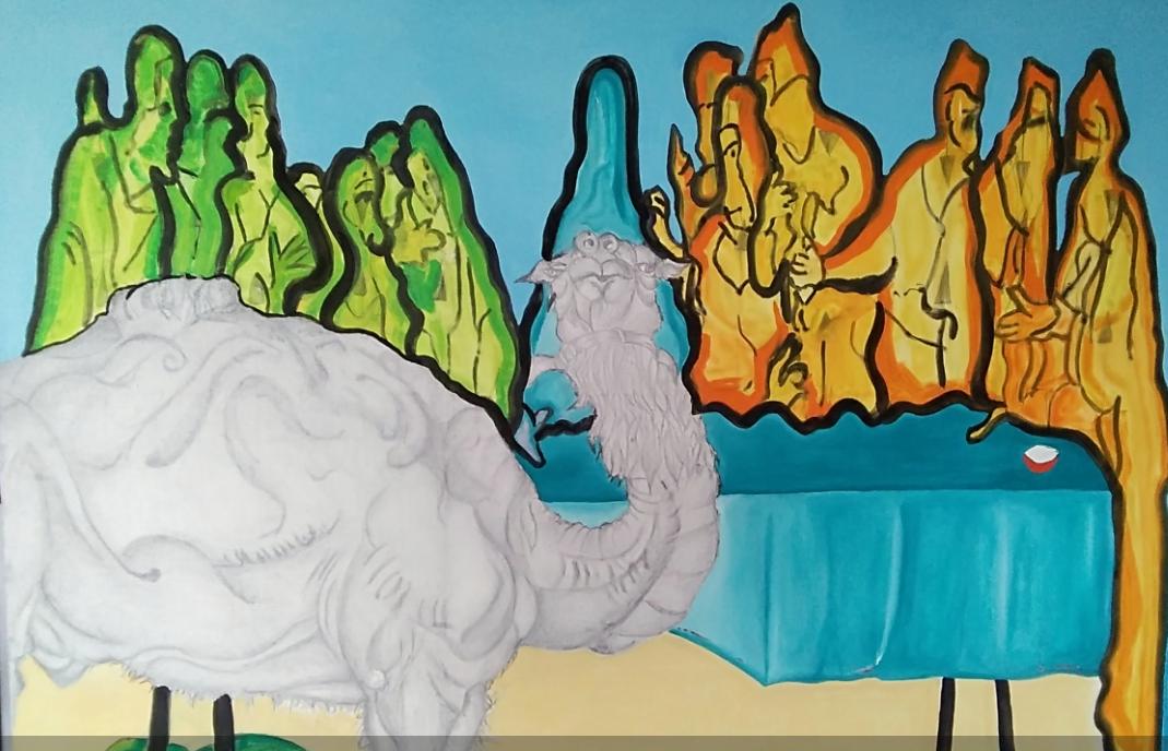 La Cène - 2018 - Acrylique et technique mixte sur toile - 130 x 160 cm