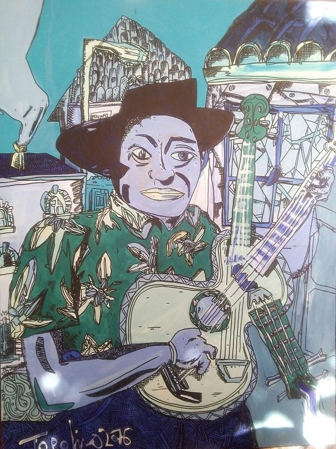 Homme à la guitare 2016 - 108x90cm (Oeuvre en dépôt)