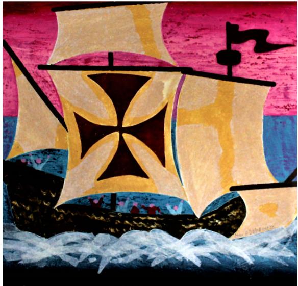 La goélette espagnole (carborundum sur papier main n°34/50) - 81x81cm