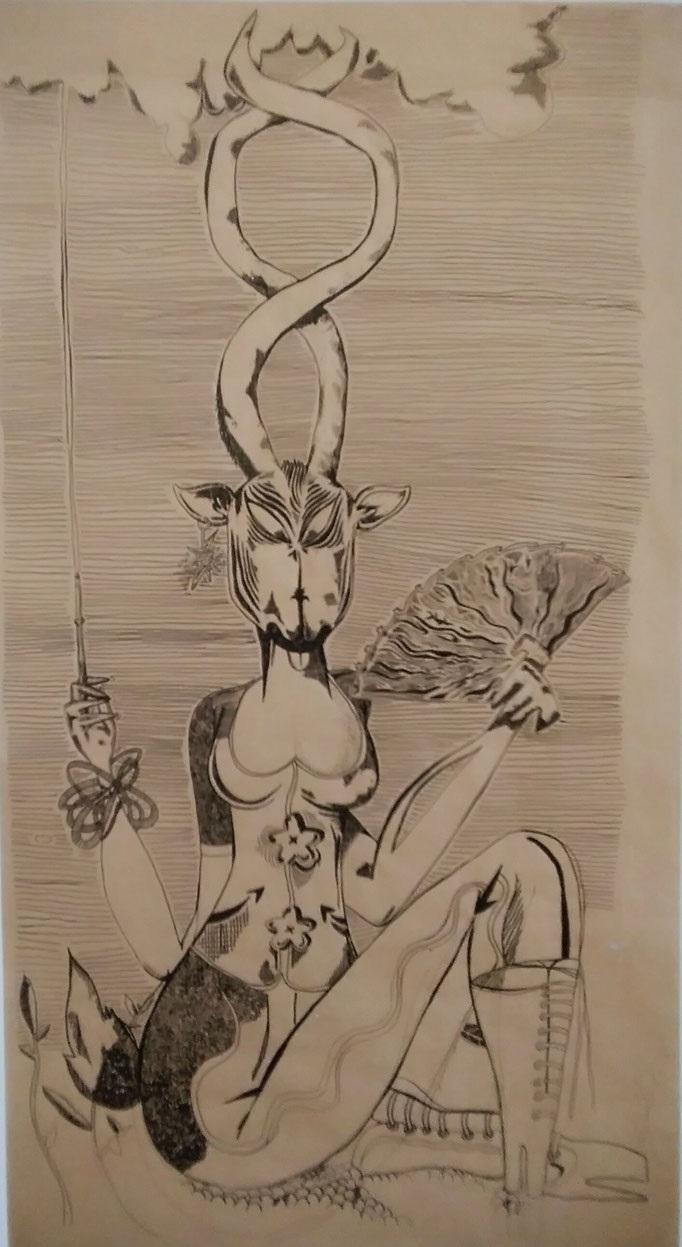 La gazelle à éventail (gouache sur papier kraft) - 180x97.5cm (Oeuvre en dépôt)