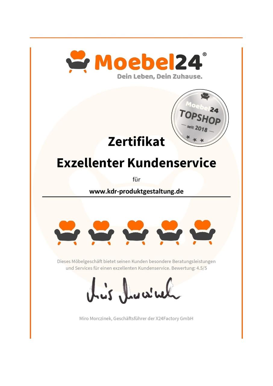 KDR Produktgestaltung hat einen exzellenten Kundenservice - Zertifikat von Möbel24