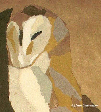 effraie, collage (détail) Jean Chevallier