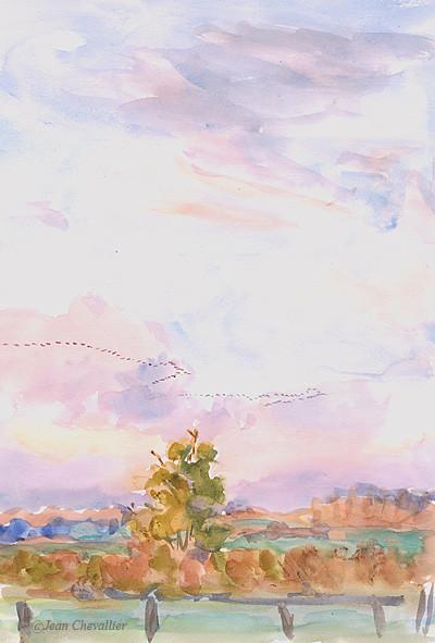 les grues rentrent au Der, aquarelle Jean Chevallier
