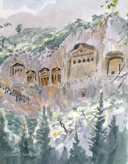 Dalyan, tombeaux lyciens, aquarelle Jean Chevallier
