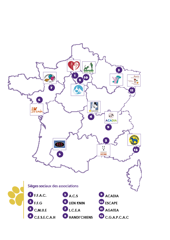 French map situating the headquarters location of Canidea's members