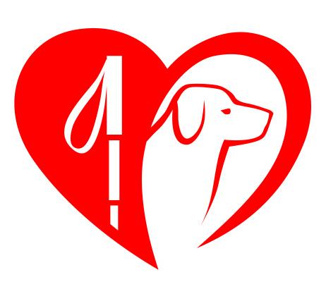 La Fédération Française des Associations de Chiens guides d'aveugles, logo rouge sur fond blanc. Coeur avec un chien et une laisse à l'intérieur