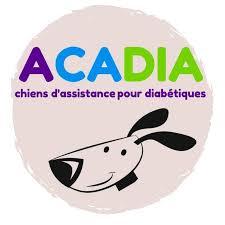 Logo de l'association Handi'Chiens : une personne en fauteuil en face d'un chien d'assistance assistance. Logo bleu sur fond blanc