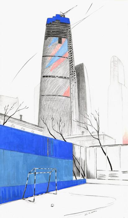 Строительство башни «Федерация». 2014. Бумага, карандаш, гуашь. 30 х 17