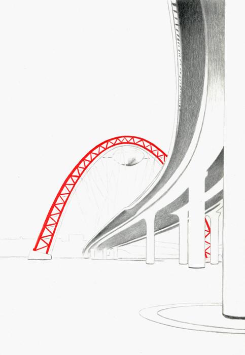 Живописный мост. 2014. Бумага, карандаш, гуашь. 29 х 20
