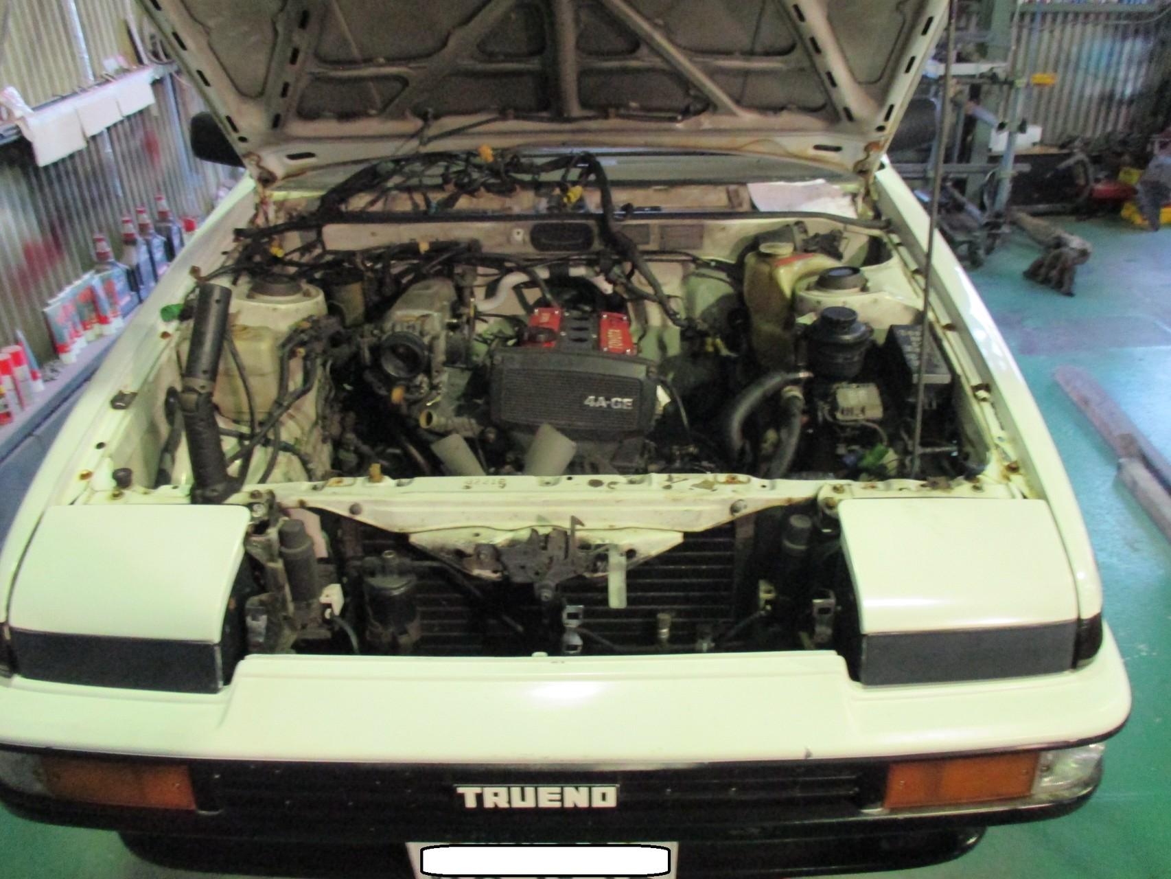 AE86 トレノ エンジン取外し